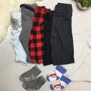 🎉Bundle baby boy bottoms socks B6-12